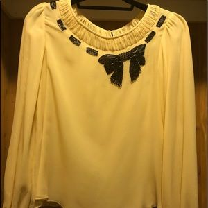 Nanette Lepore Cream Silk Long Sleeve Blouse